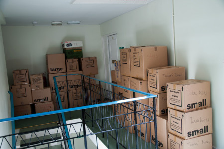 Neatly arranged in moving boxes